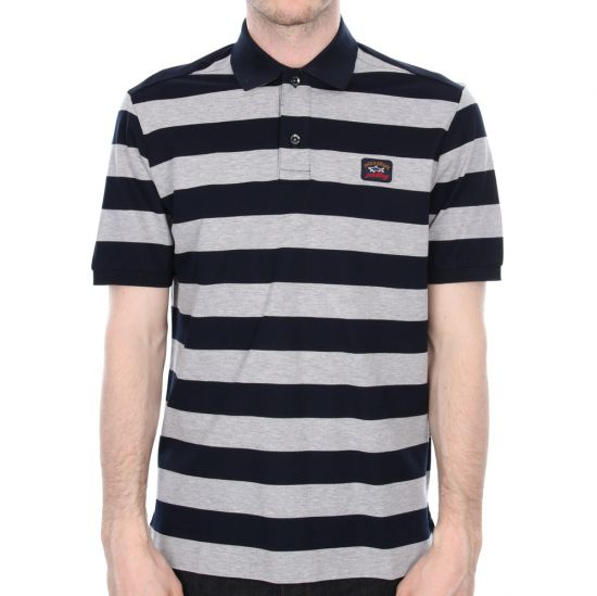Paul and Shark Polo Navy Grey Striped