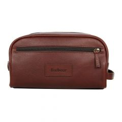 barbour washbag brown leather uba0009