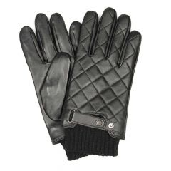 barbour gloves quilted black leather 9360212072013