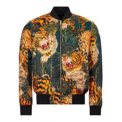 DSquared Jacket Tiger Print S71AN0180|S52759|001S In Black And Orange At Aphrodite Clothing