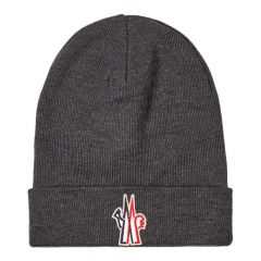 Moncler Knitted Beanie 00261|00|09974|990 In Grey At Aphrodite Clothing