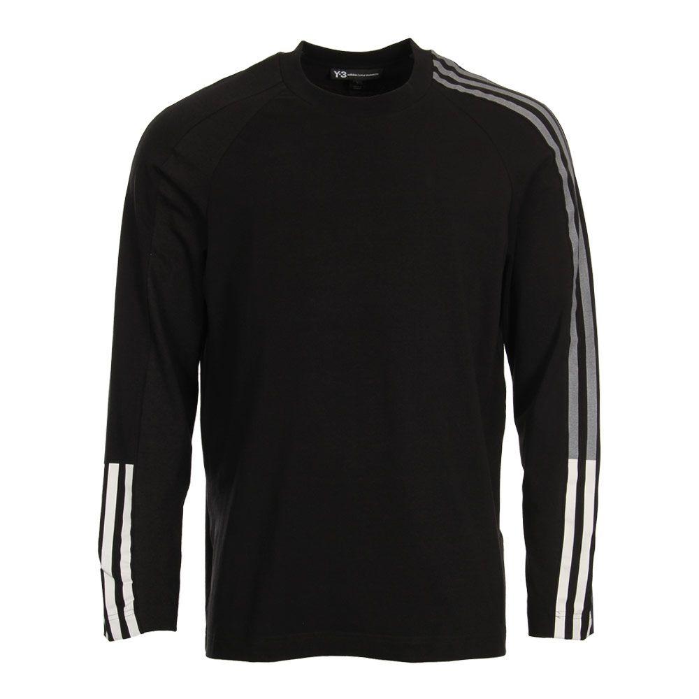 Y3 Two Tone 3 Stripe Long Sleeve T Shirt | DP0492 Black